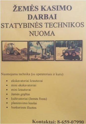 STATYBINĖS TECHNIKOS NUOMA, 8-659-07990, BOBCAT NUOMA
